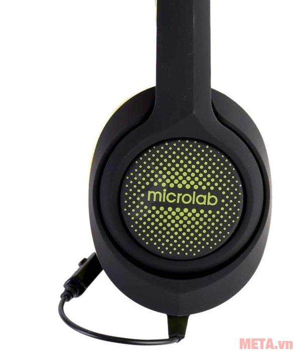 Tai nghe Microlab K320 có tên thương hiệu trên củ loa