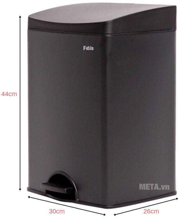 Kích thước của thùng rác inox đạp vuông nhỏ Fitis SPS1-903
