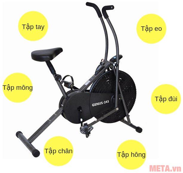 Xe đạp tập liên hoàn Genus 243 giúp tập luyện cơ chân, cơ tay, tập hông, mông, đùi, eo.