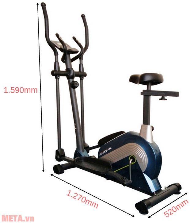 Kích thước sử dụng của xe đạp tập leo núi Royal 571A