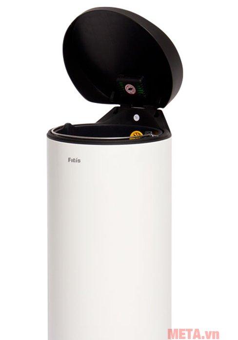Thùng rác inox đạp tròn lớn Fitis RPL1-904 có màu trắng sang trọng