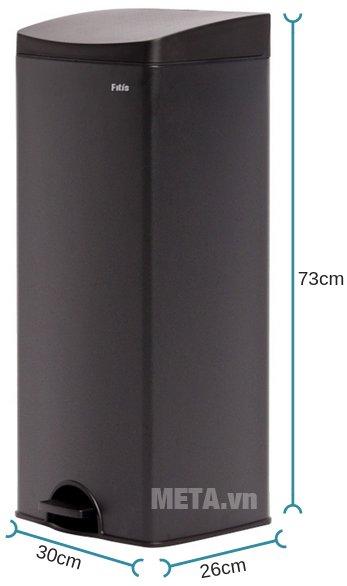 Kích thước của thùng rác inox đạp vuông lớn Fitis SPL1-903