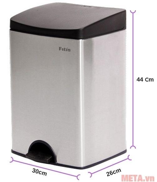 Kích thước của thùng rác inox đạp vuông nhỏ Fitis SPS1-901