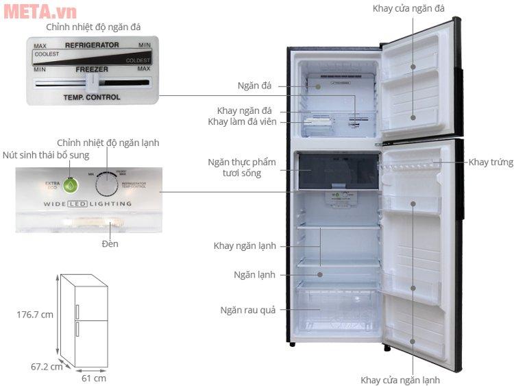 Cấu tạo của tủ lạnh Sharp inverter SJ-X346E-DS