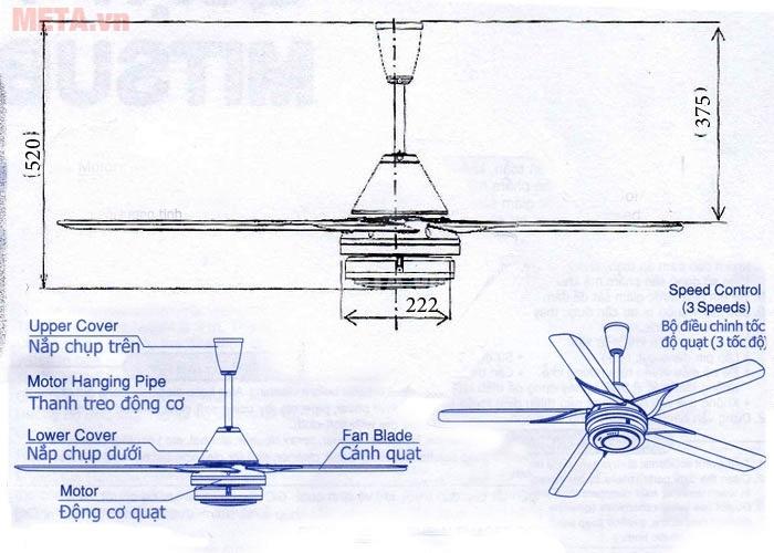 Mọi chi tiết của quạt trần Mitsubishi C56-RQ5 được gắn kiên cố chắc chắn vào nhau