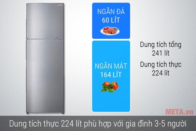 Thiết kế gọn nhưng tủ lạnh Sharp SJ-X251E-SL có dung tích lớn cho 3 - 5 người
