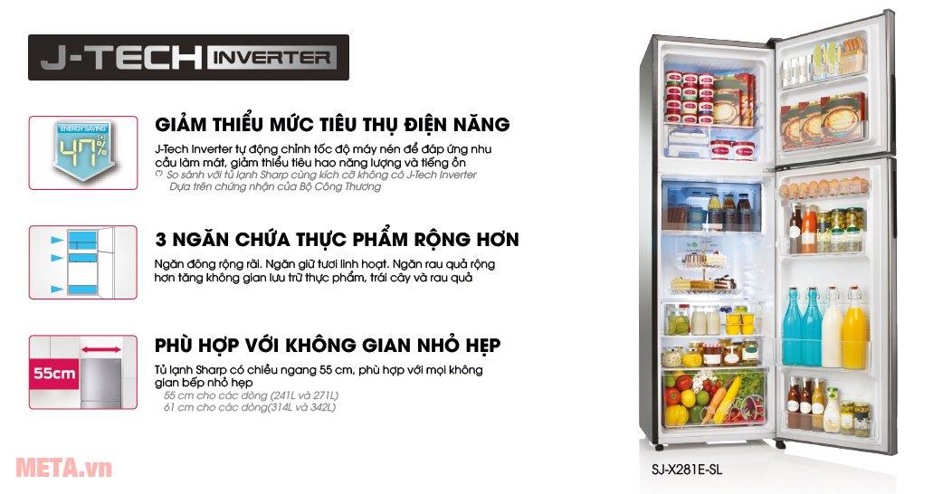 Tủ lạnh Sharp Inverter SJ-X316E-SL có nhiều tính năng vượt trội