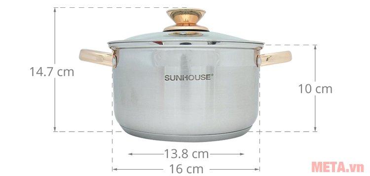 Kích thước nồi 16cm nằm trong bộ nồi inox 5 đáy Sunhouse SH781