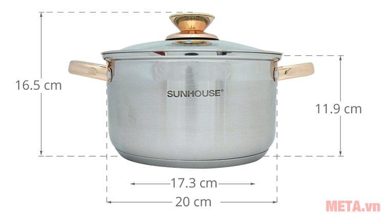 Kích thước nồi 20cm nằm trong bộ nồi inox 5 đáy Sunhouse SH781