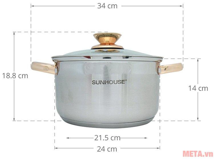 Kích thước nồi 24cm nằm trong bộ nồi inox 5 đáy Sunhouse SH781