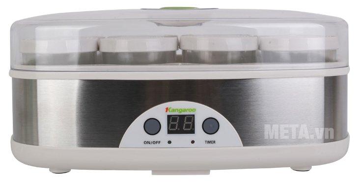 Máy làm sữa chua Kangaroo KG81 có nắp đậy giúp sữa chua làm ra sạch hơn.
