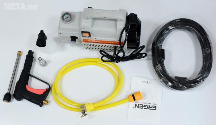 Máy rửa xe Ergen EN-6708 có mô tơ từ, có khả năng hút nước.