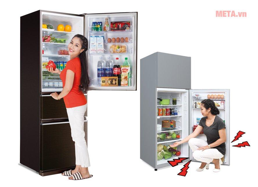 Tủ lạnh ngăn đá phía trên và ngăn đá phía dưới