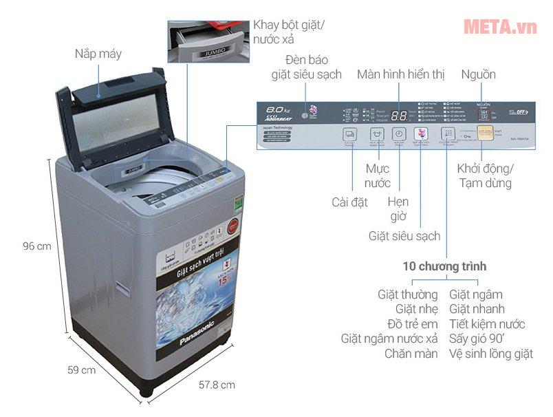 Cấu tạo máy giặt Panasonic 8kg NAF80VS9GRV