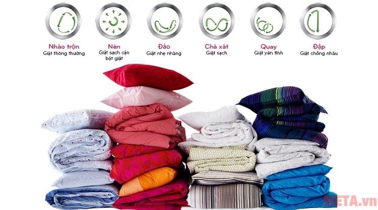 Công nghệ  bước giặt của máy giặt lồng ngang LG F2514DTGW