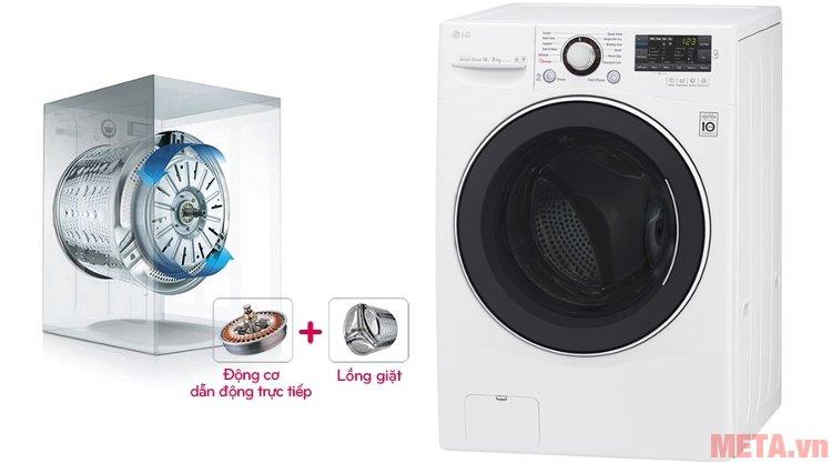 Động cơ dẫn động trực tiếp của máy giặt F2514DTGW giúp chuyển động bền bỉ và mạnh mẽ
