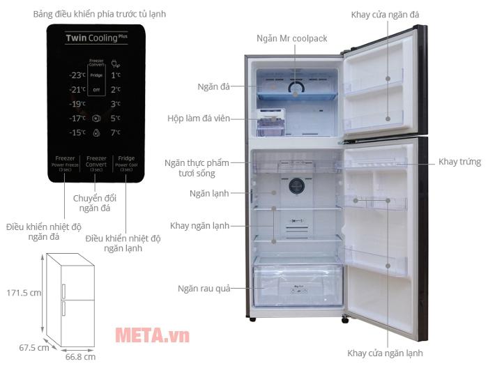 Chi tiết thiết kế tủ lạnh Samsung 364 lít RT35K5532UT/SV