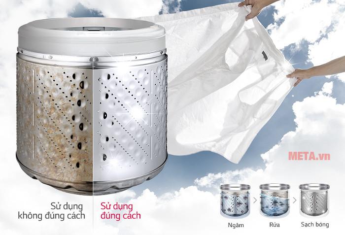 Máy có chế độ làm sạch lồng giặt giúp bảo vệ quần áo