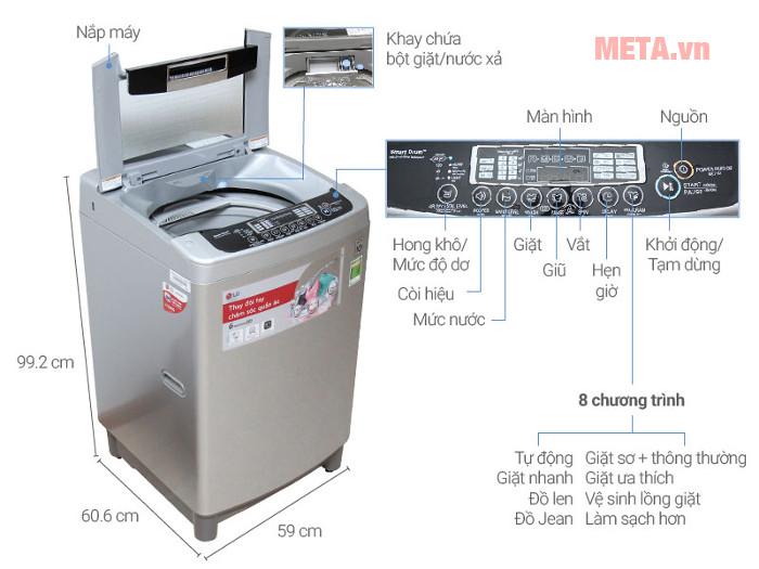 Chi tiết thiết kế máy giặt LG WF-D1117DD