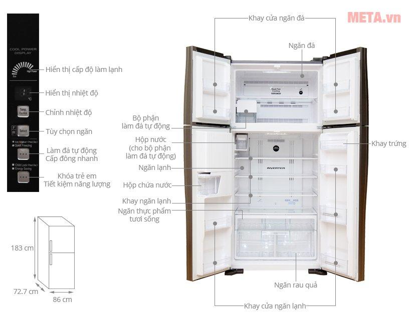 Cấu tạo tủ lạnh Hitachi 540 lít R-W660FPGV3X