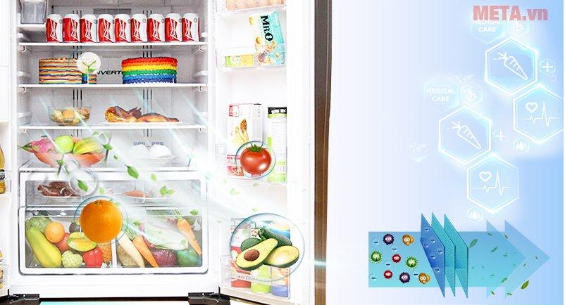 Tủ lạnh Hitachi 540 lít R-W660FPGV3X với các khay kệ linh hoạt