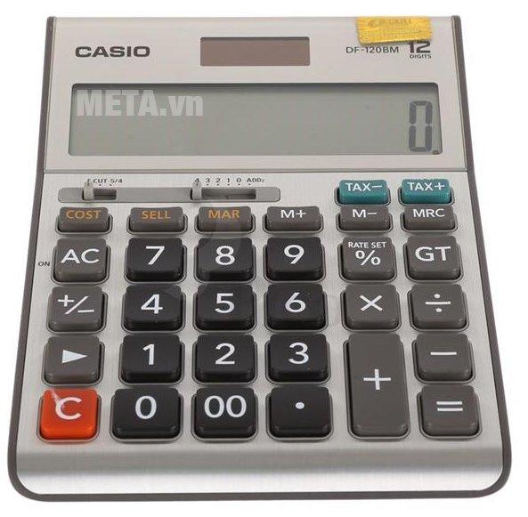 Máy tính Casio DF-120BM có kiểu dáng để bàn nhỏ gọn