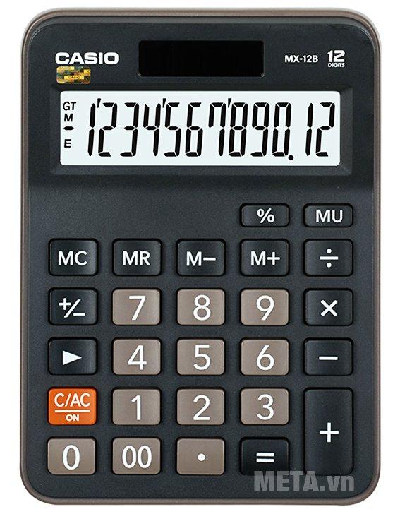 Máy tính Casio MX-12B có kiểu dáng nhỏ gọn dễ mang theo