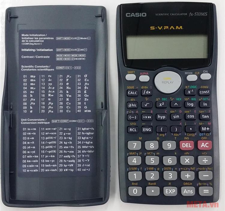 Máy tính bỏ túi Casio FX-570MS có nắp đậy bằng nhựa kèm thông số toán học vô cùng tiện dụng