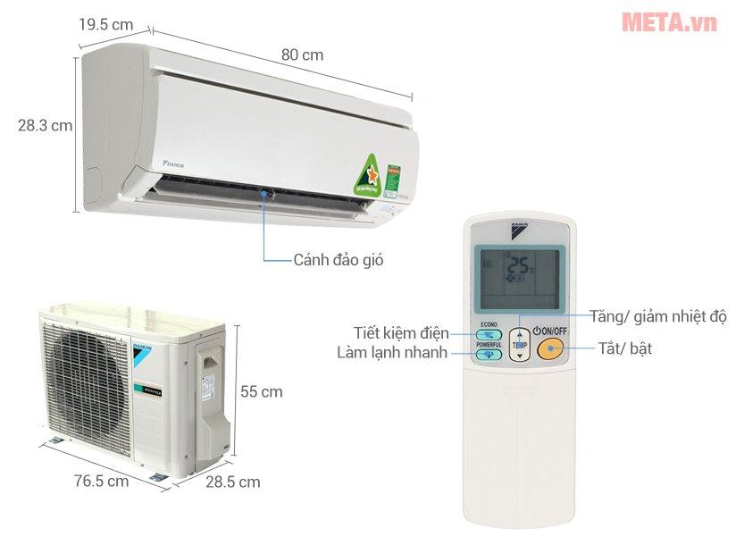 Cấu tạo điều hòa 2 chiều Inverter Daikin 12000BTU FTXS35GVMV/RXS35GVMV