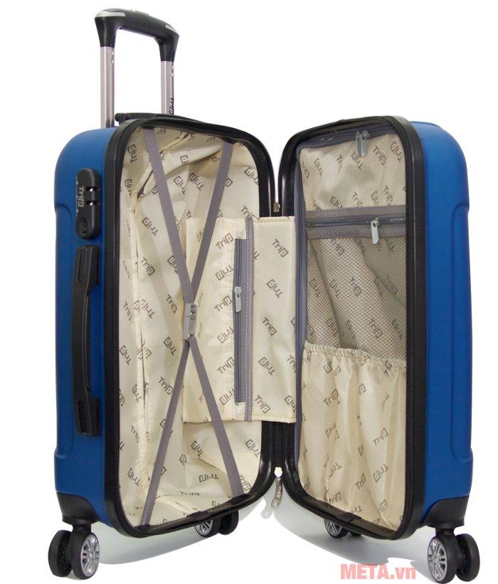 Vali kéo Trip P603 cỡ 60cm thiết kế ngăn để đồ rộng, giúp thoải mái để hành lý.