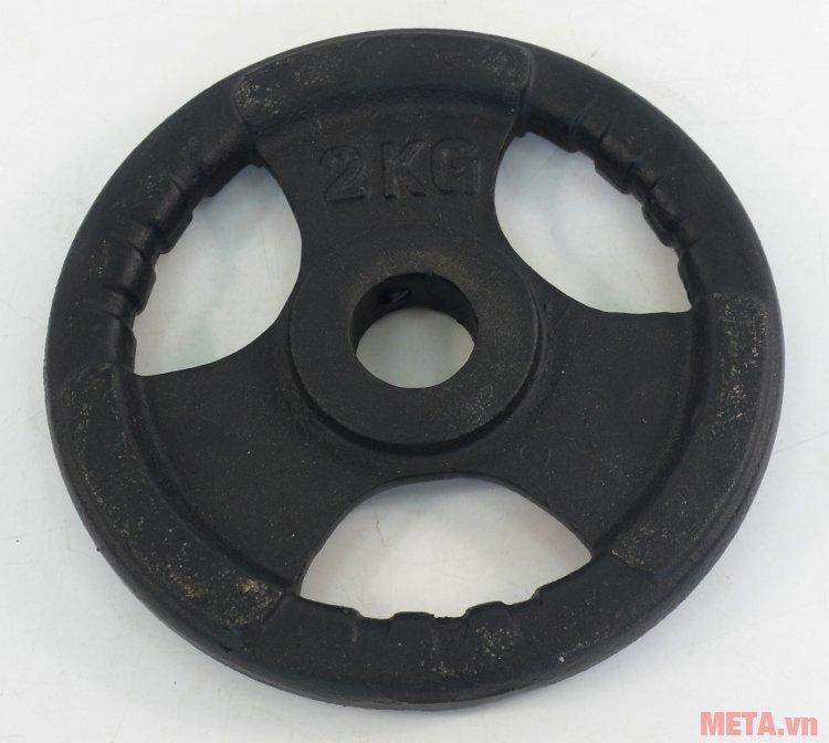 Tạ đĩa gang 2 kg thiết kế dạng lỗ cầm chắc tay