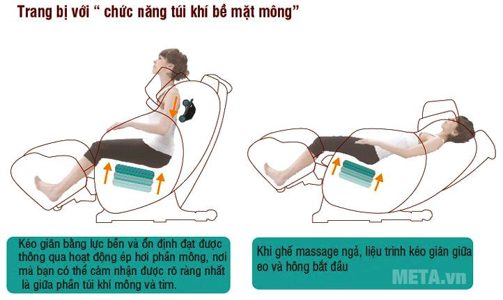 Trang bị túi khí giúp massage mọi điểm trên cơ thể