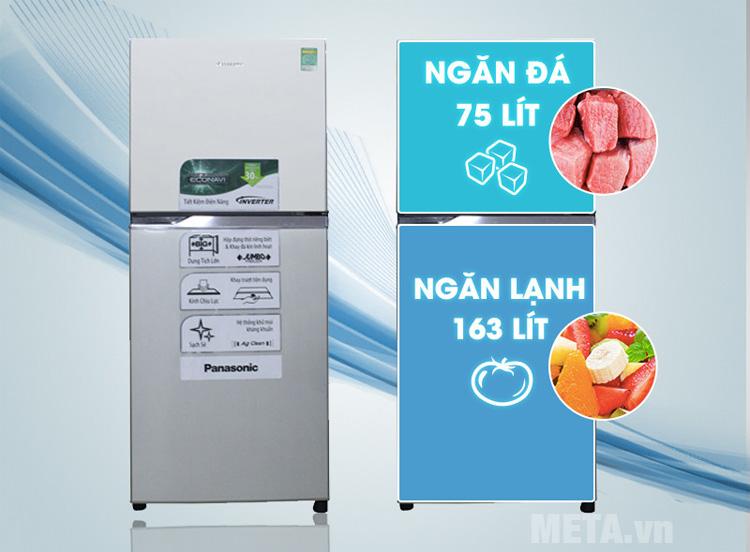 Tủ lạnh Panasonic NRBL268PSVN có dung tích ngăn mát 163L