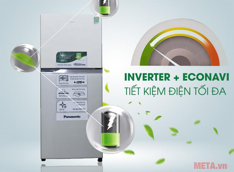 Tủ lạnh Panasonic NRBL268PSVN kết hợp giữa công nghệ Inverter và econavi tiết kiệm năng lượng tối ưu