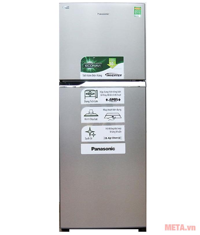 Tủ lạnh Panasonic NRBL268PSVN có thiết kế màu bạc sang trọng
