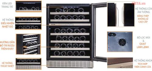 Chi tiết thiết kế tủ rượu Kadeka KA-45WR