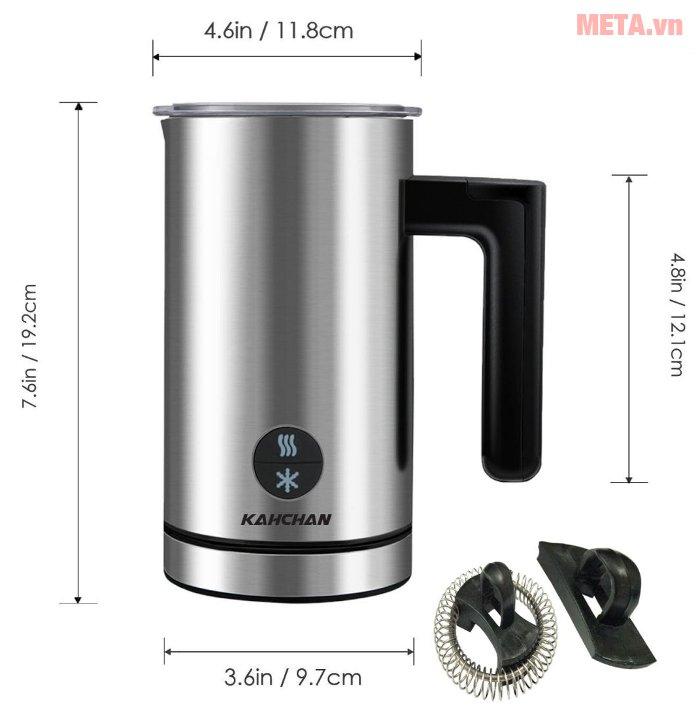 Kích thước máy đánh sữa tạo bọt Kahchan EP2188