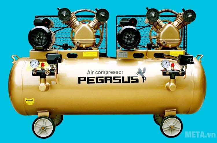 Máy nén khí Pegasus TM-V-0.25/8x2 có trang bị 4 bánh xe giúp di chuển nhẹ nhàng