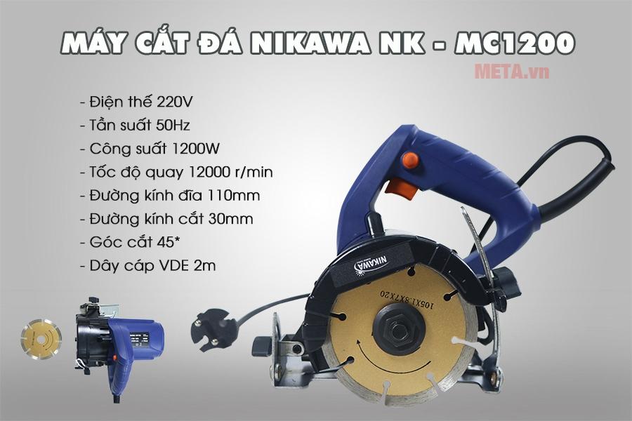 Thông số kỹ thuật máy cắt đá NK-MC1200