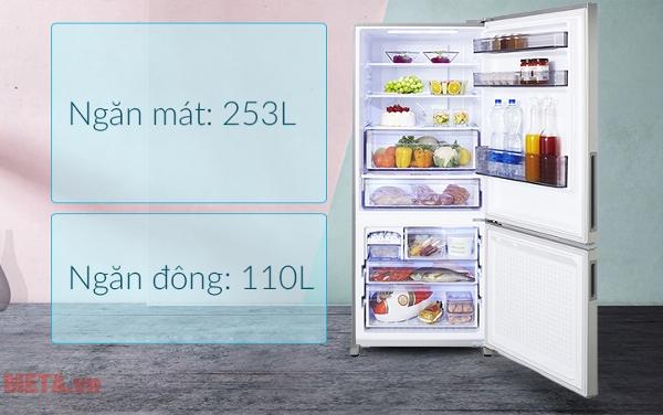 Tủ lạnh Panasonic 363 lít NR-BX418XSVN được thiết kế ngăn đá phía dưới
