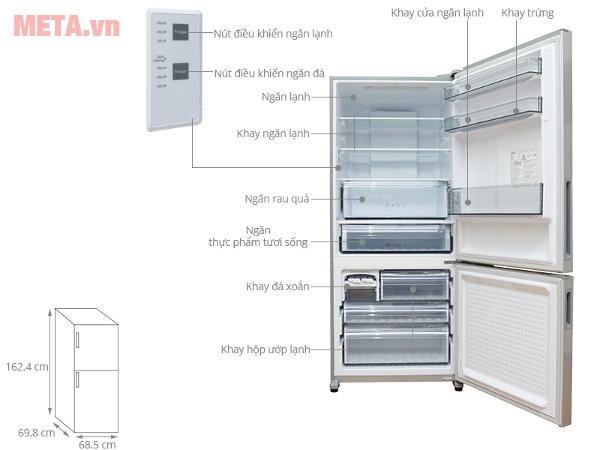 Tủ lạnh Panasonic NR-BX418VSVN 363 lít là loại tủ lạnh ngăn đá dưới
