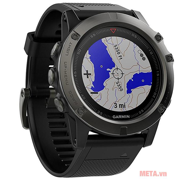 Vòng đeo tay theo dõi sức khỏe Garmin Fenix 5X có khả năng hiển thị địa hình