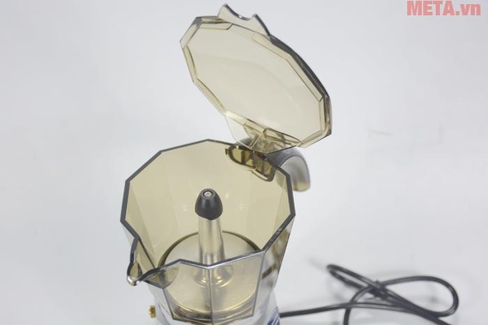 Ấm có nắp nớ và tay cầm tiện lợi dễ dàng rót cà phê ra cốc