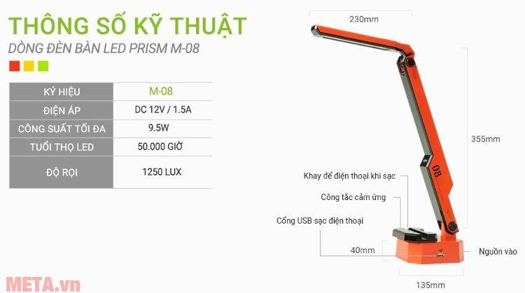 Kích thước đèn bàn Led Hàn Quốc đổi màu Prism M-08RD