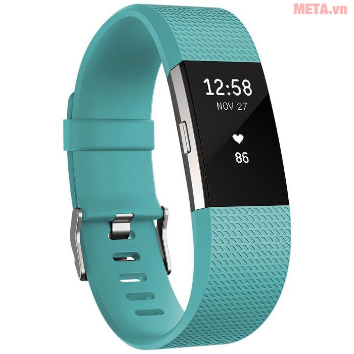 Vòng tay theo dõi sức khỏe Fitbit Charge 2 màu Teal Silver