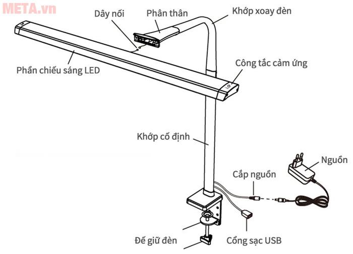Cấu tạo của đèn kẹp bàn led Hàn Quốc Broadwing