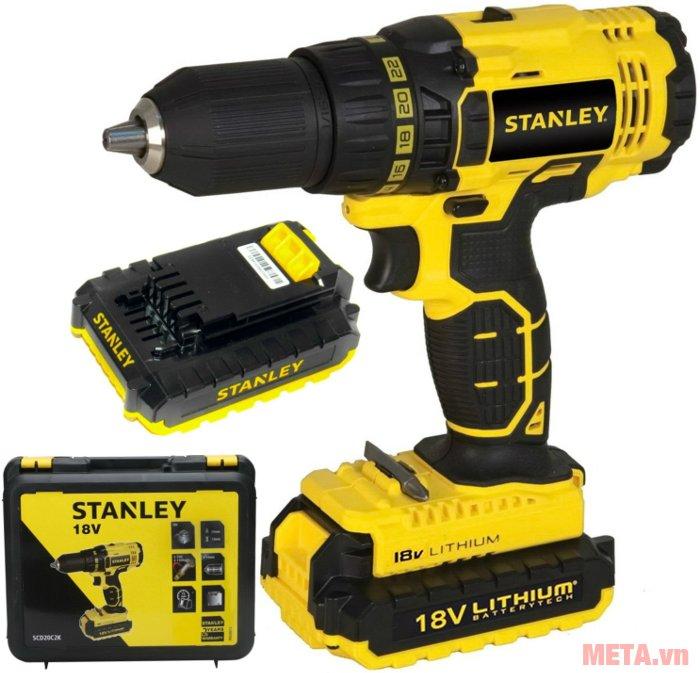 Bộ sản phẩm máy khoan vặn vít động lực dùng pin Stanley SCH20C2