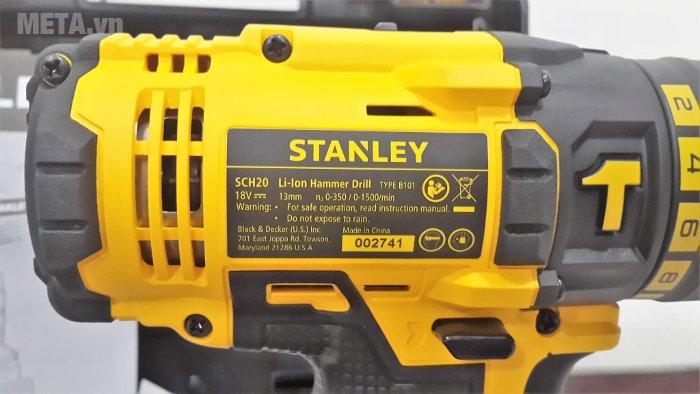 Máy khoan vặn vít động lực dùng pin Stanley SCH20C2 in thông số trên thân máy