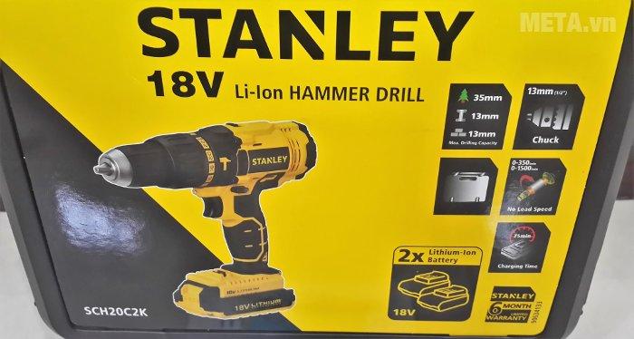 Máy khoan vặn vít động lực dùng pin Stanley SCH20C2 dùng pin sạc Lithium 18V