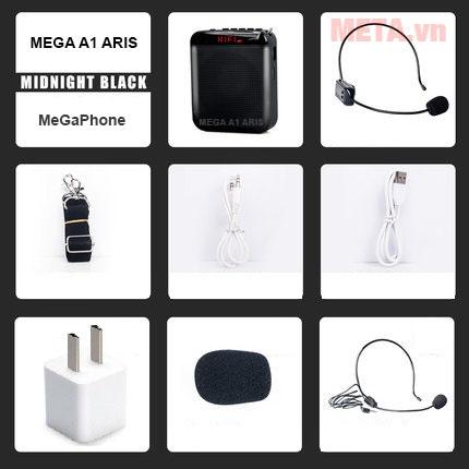 Máy trợ giảng Mega A1 Aris bao gồm nhiều phụ kiện khác nhau